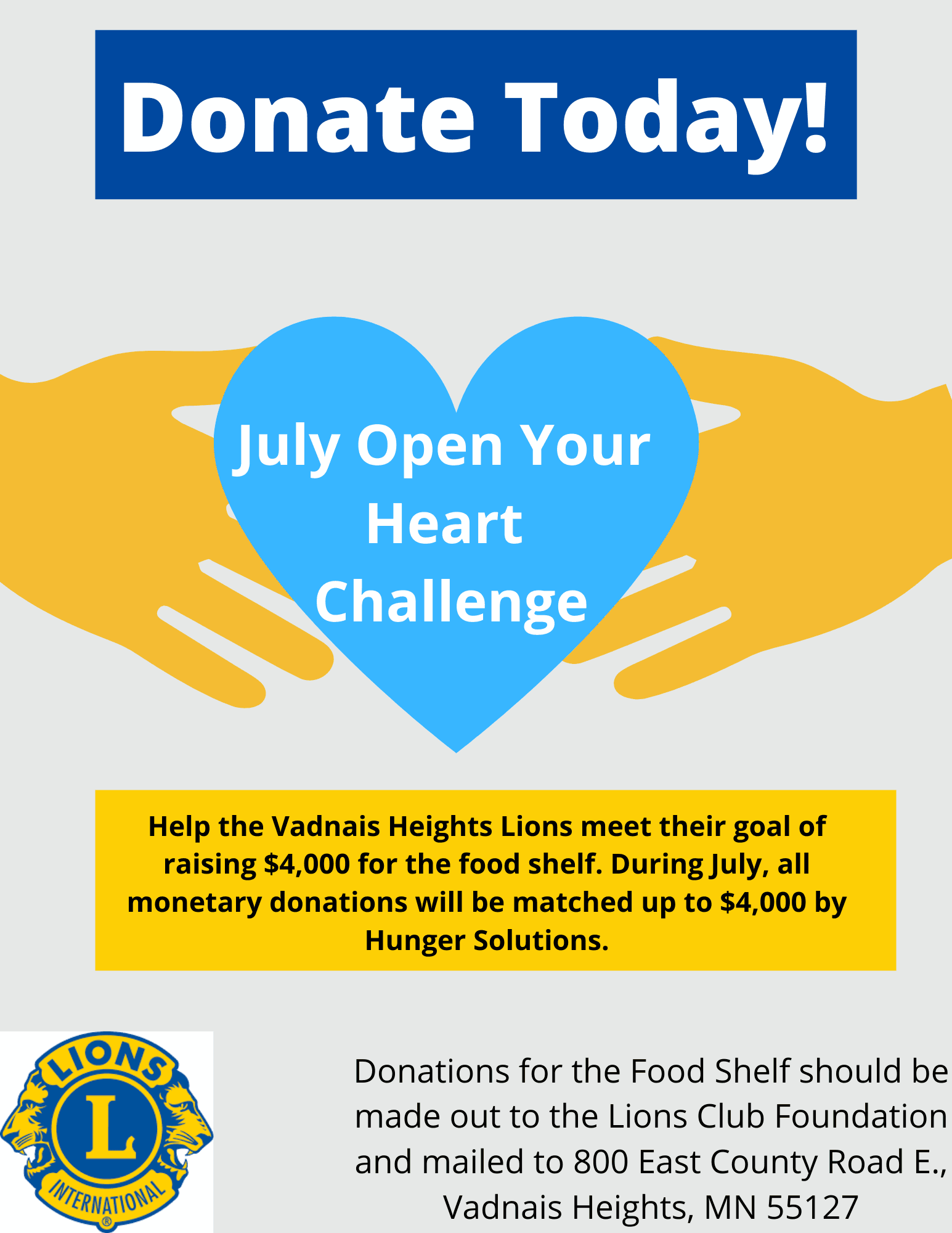 July Food Shelf fundraising poster